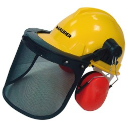 Casco Con Visera, protector facial y Protector Auditivo