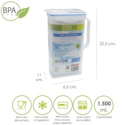Jarra Plastico Cuadrada 1.500 ml. 22.5x15x8 (alt) cm.