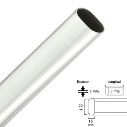 Barra Armario Cromado Ovalado 15x22 mm. (Barra 4,0 metros)